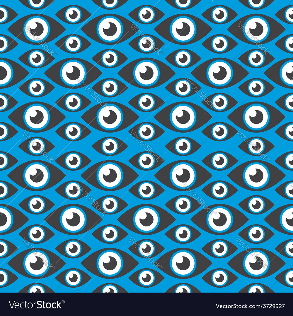 Seamless pattern eyes of different sizes over blue vector