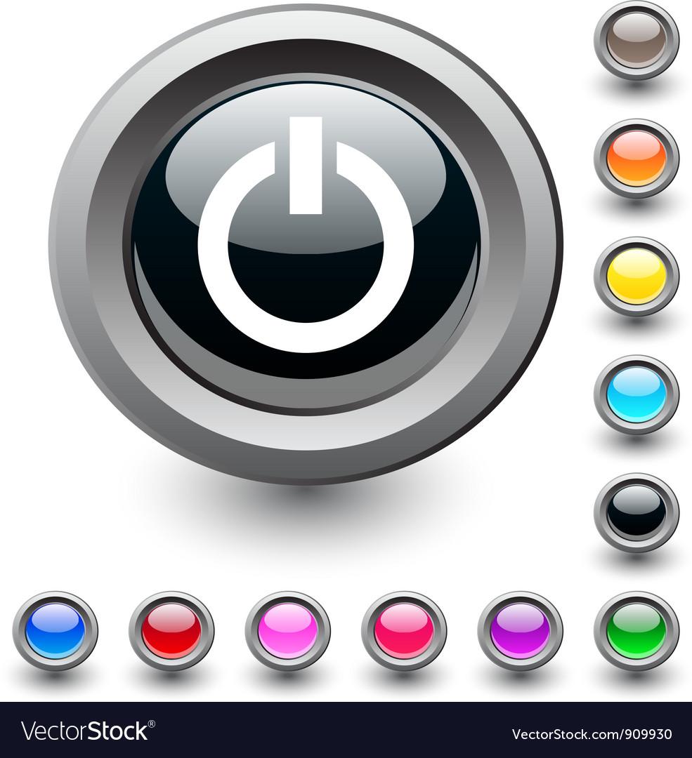 Power round button vector
