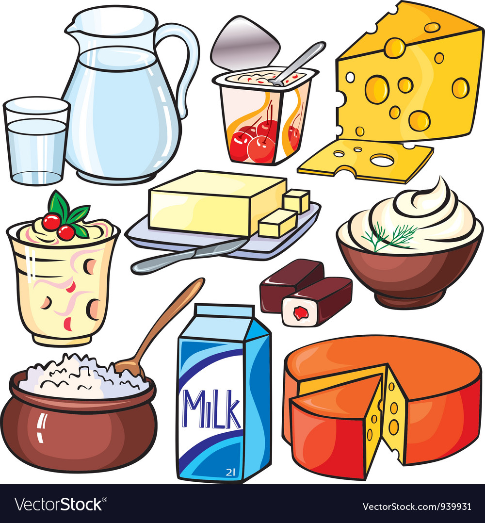 Dairy products icon set vector