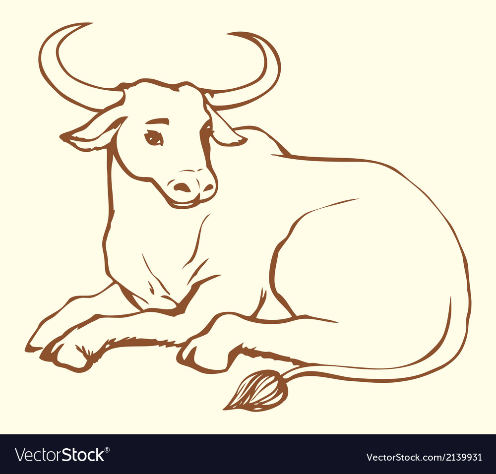 Lying cow with big horns vector