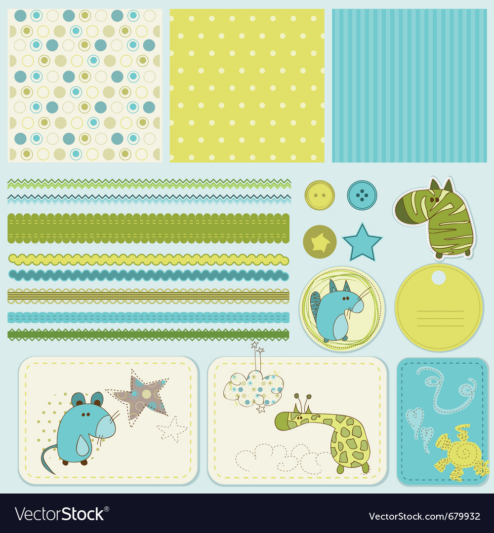 Baby scrapbook elements vector