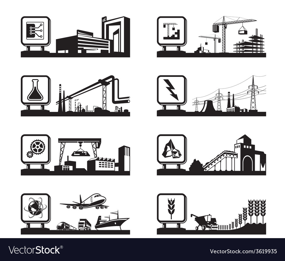 Different industries with logos vector