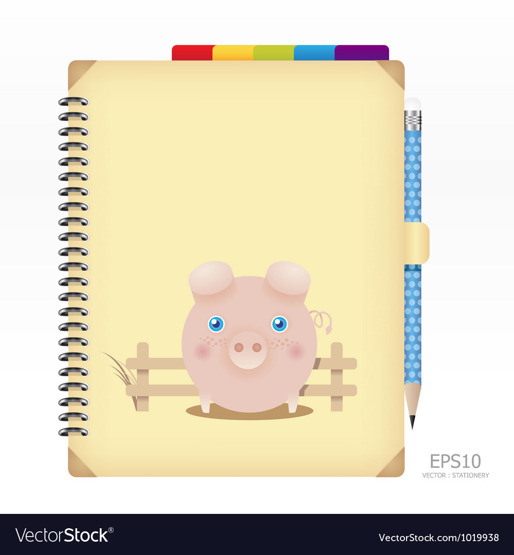 Note book yellow color with pencil vector