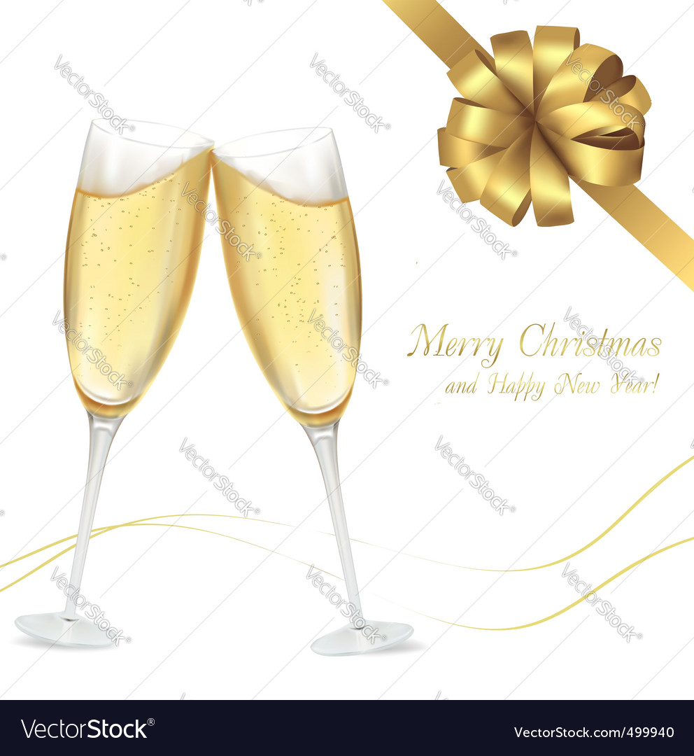 Champagne with gold bow vector