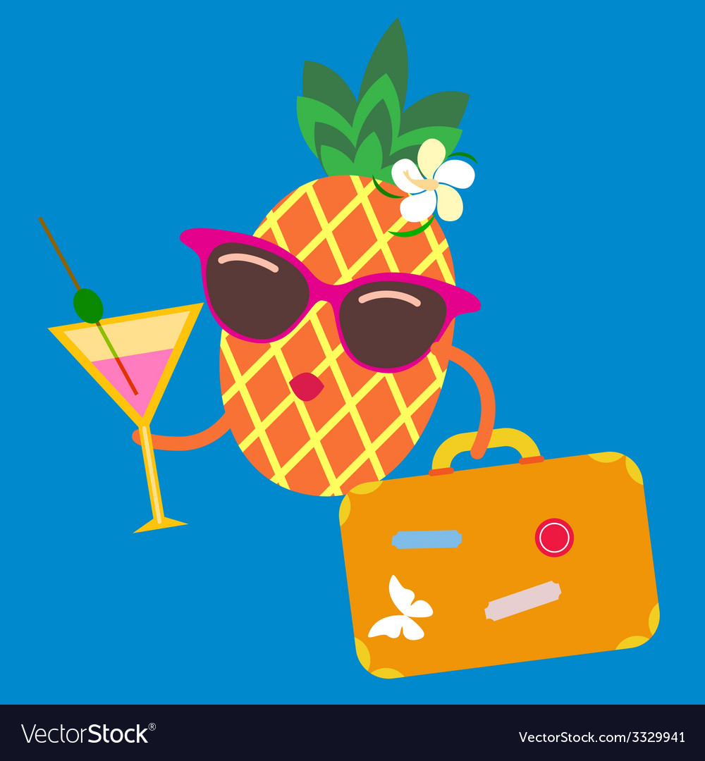 Cute pineapple fruit character on vacations vector