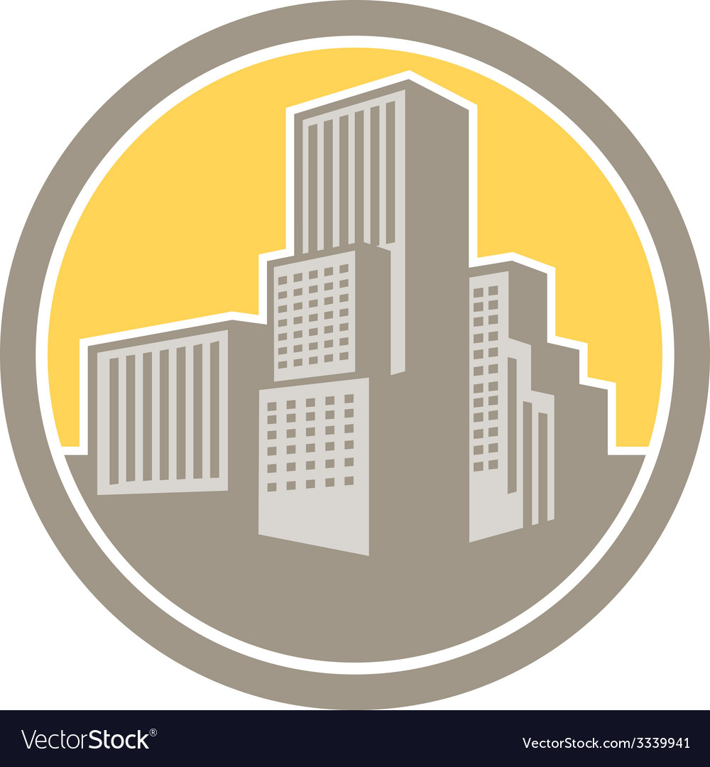 Urban skyscraper buildings circle retro vector
