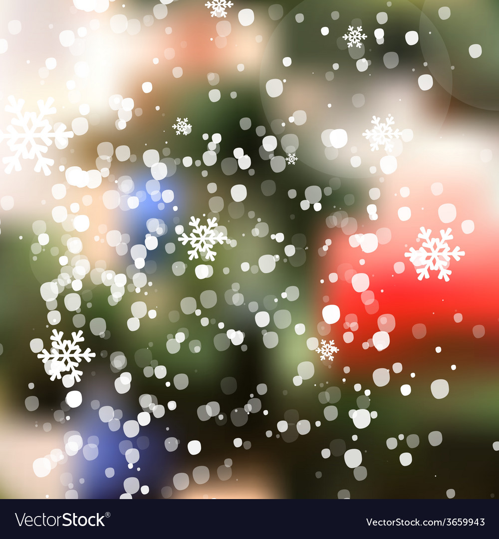 Winter christmas blurred glow snowflakes vector