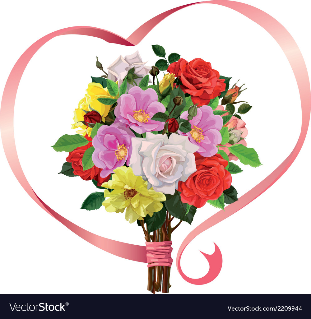 Bouquet of roses with a pink ribbon vector