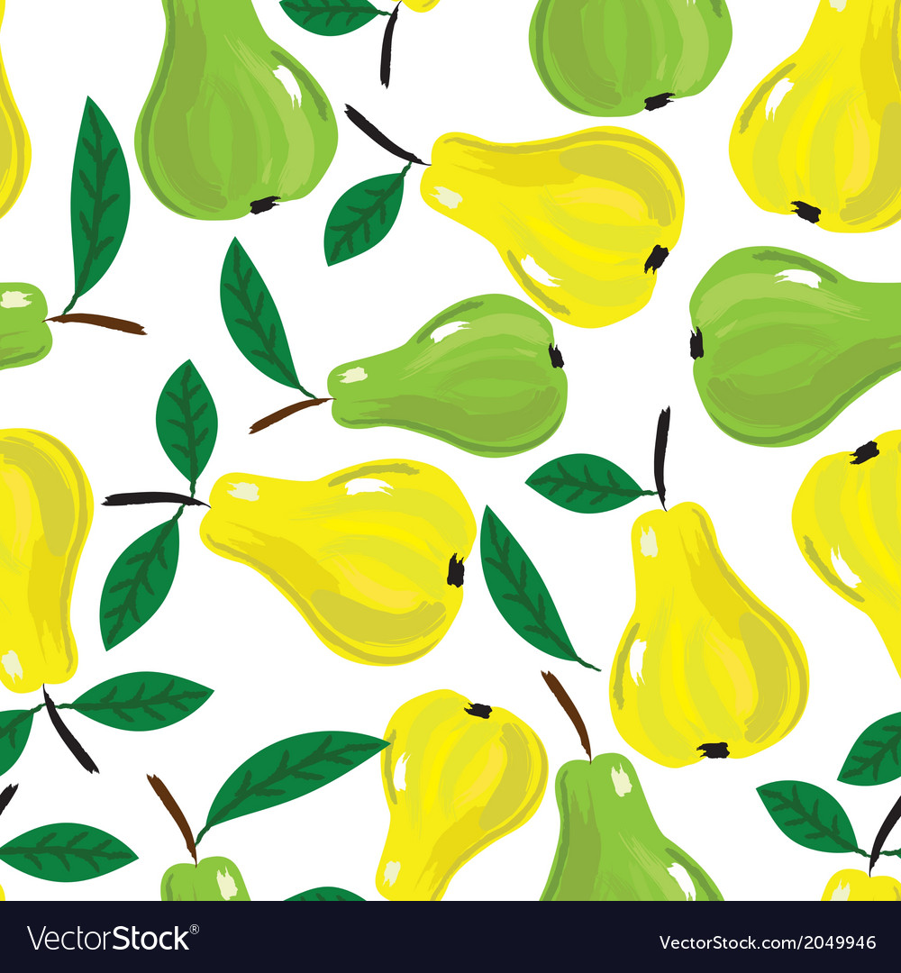 Fruit pear watercolor seamless background vector