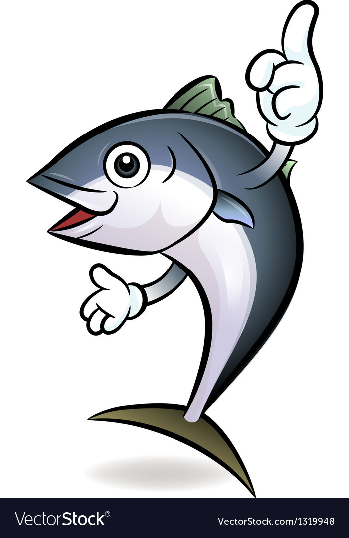 Cooks tuna mascot the direction of pointing vector