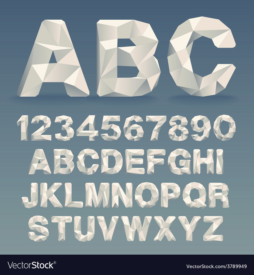 Lowpoly font vector