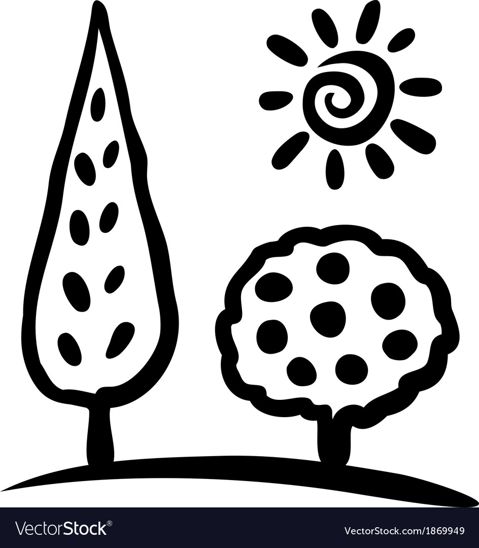 Sketch tree and sun vector