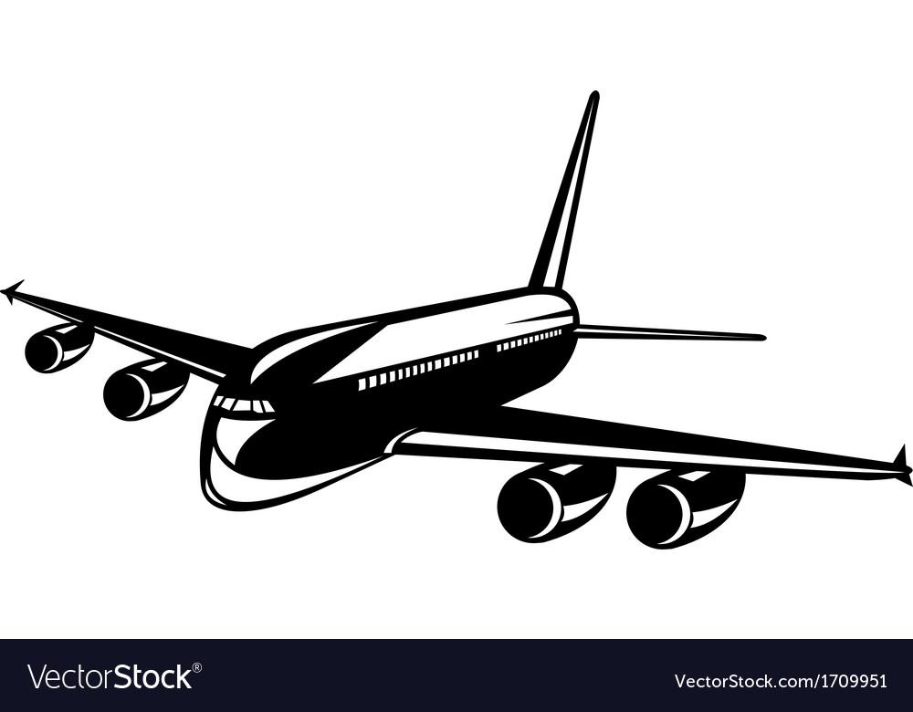 Commercial jet plane airline woodcut vector