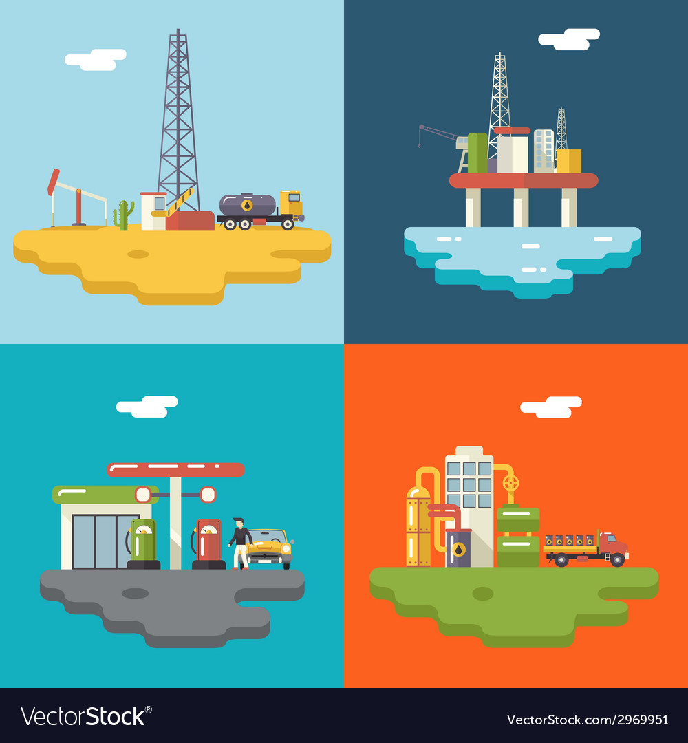 Retro flat oil icons and symbols concept set vector