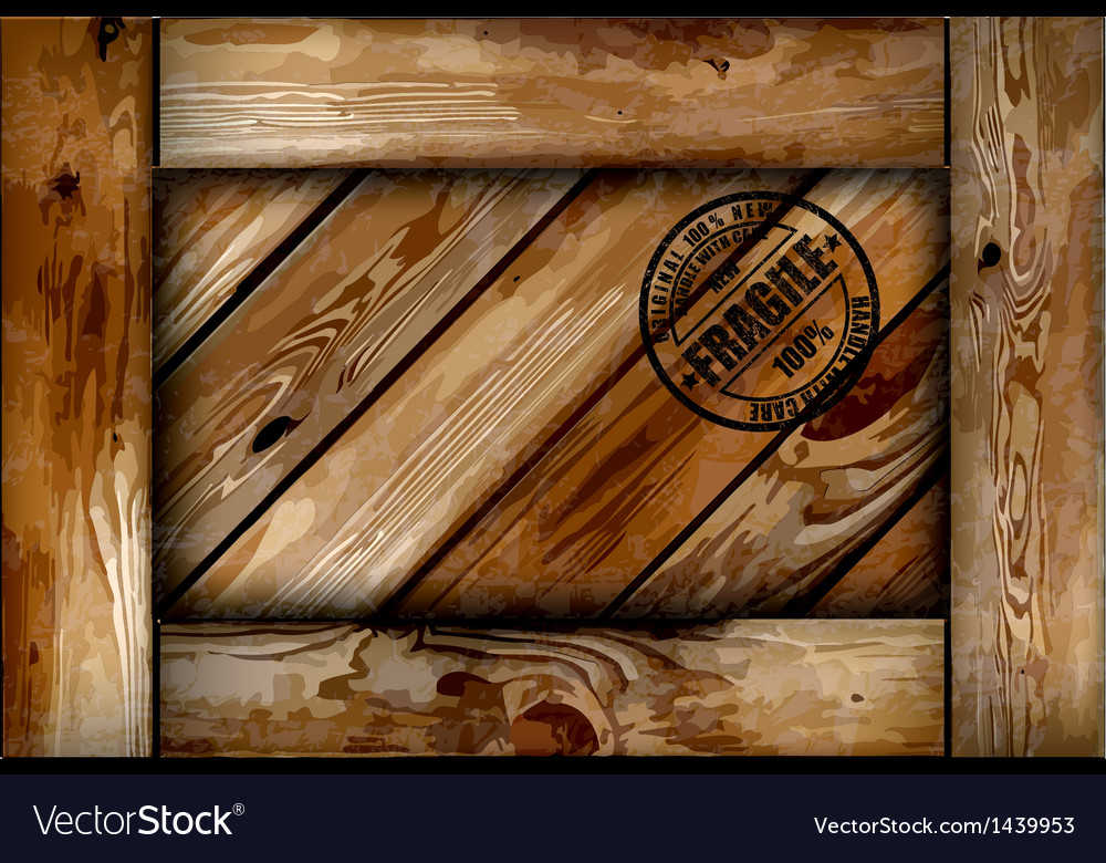 Fragile wooden box with stamp background vector