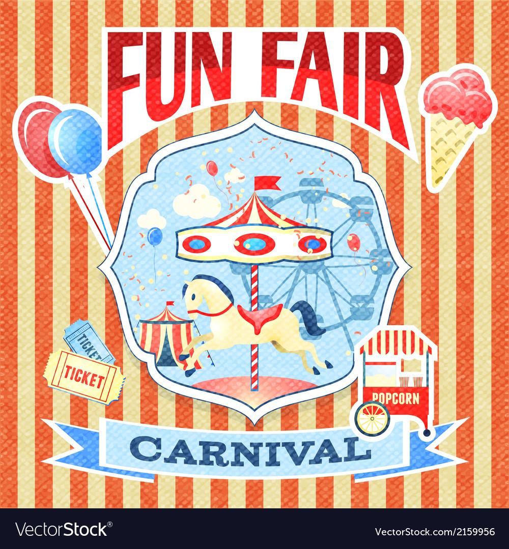 Vintage carnival poster template vector