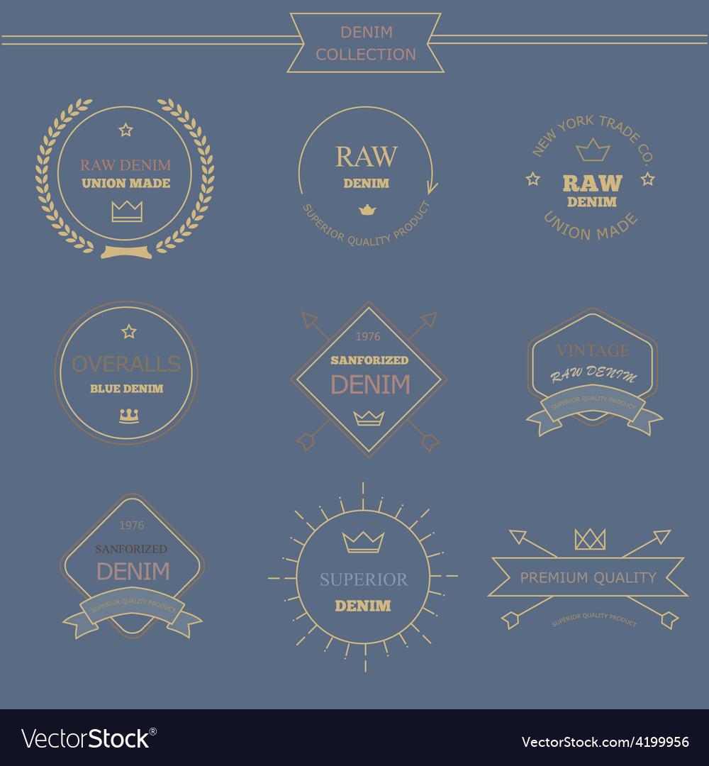 Vintage labels denim typography t-shirt graphics vector