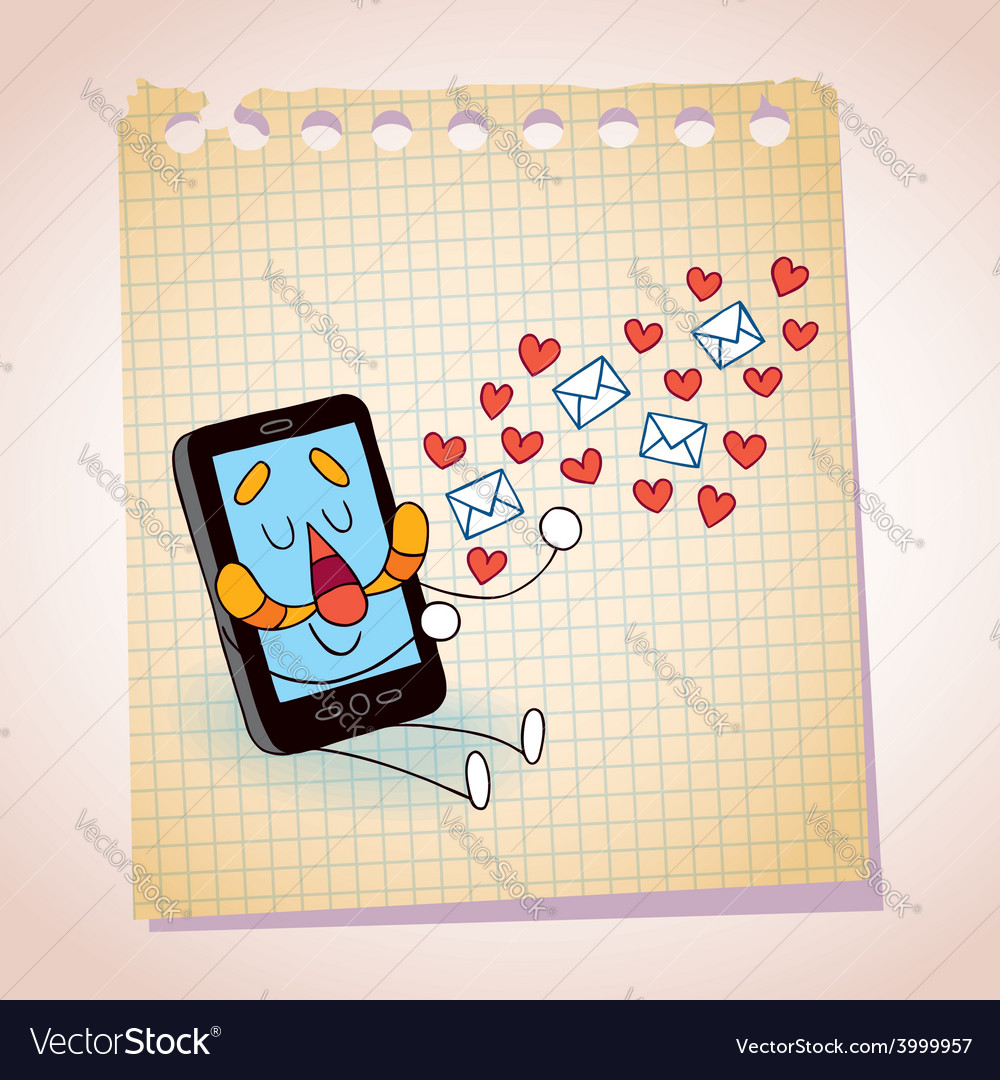 Cell phone sending love messages note paper vector