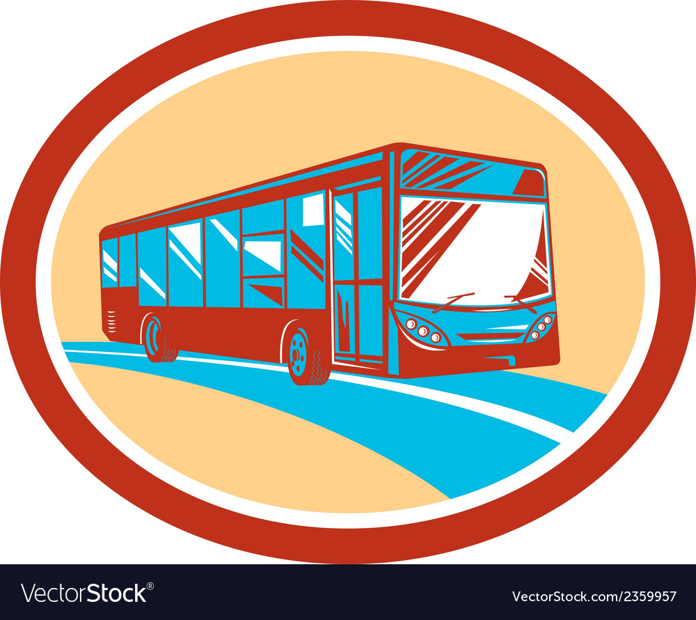 Tourist coach shuttle bus oval retro vector
