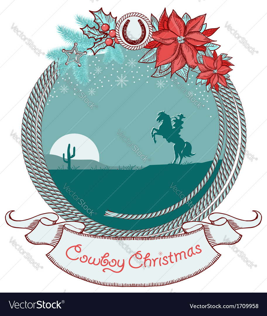 American cowboy christmas card background with vector