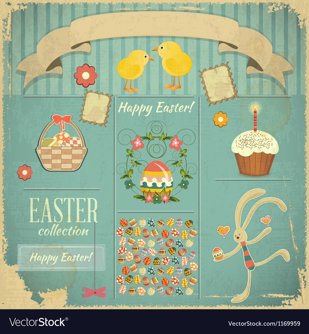 Retro card with easter set vector