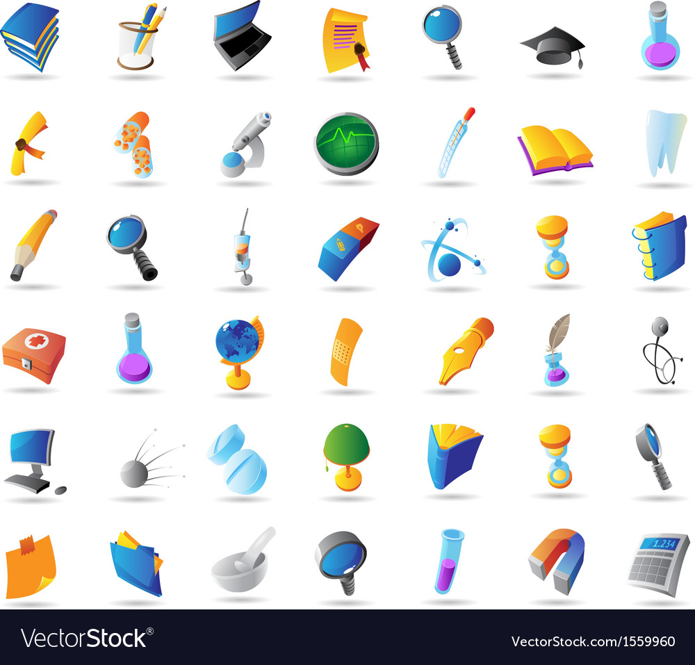 Icons for science education and medicine vector