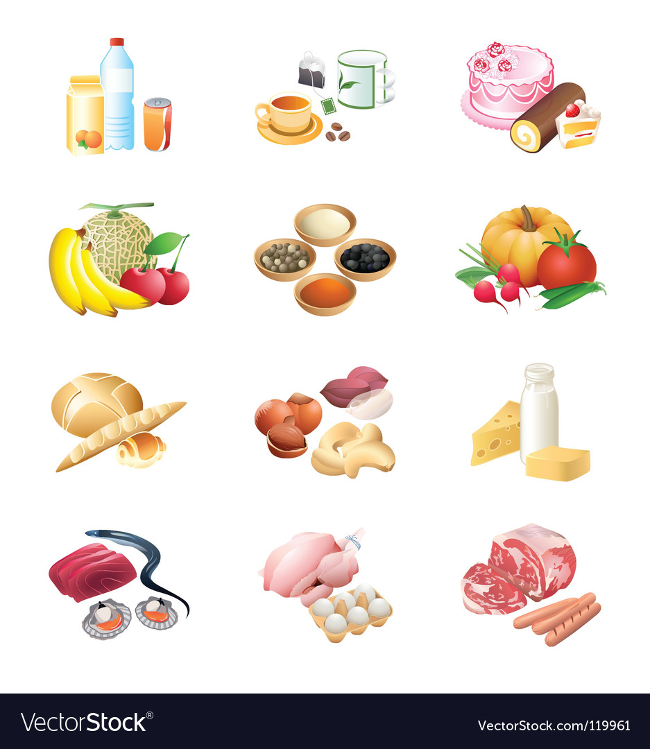 Food market icons vector