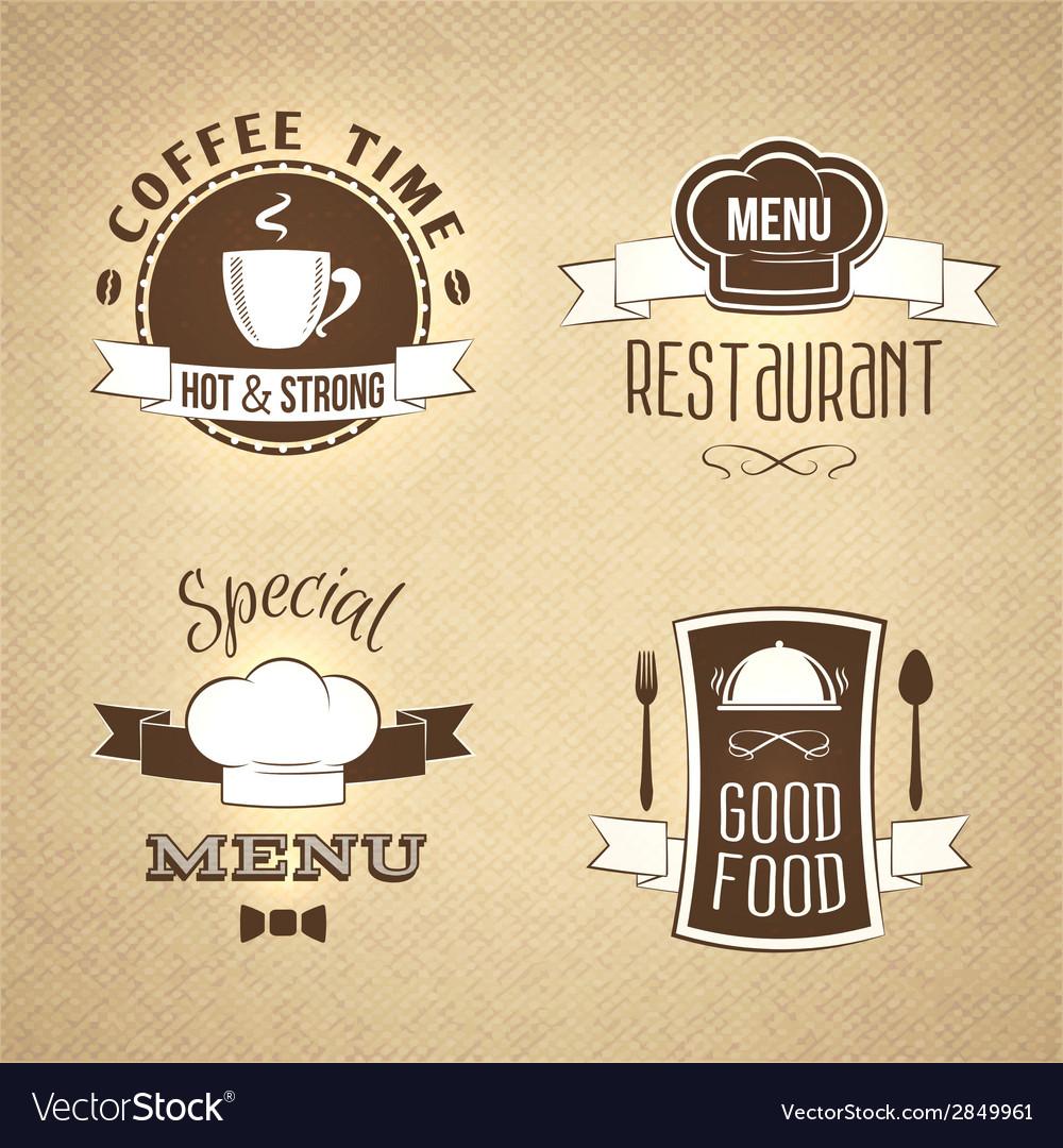 Restaurant menu emblems set textured vector