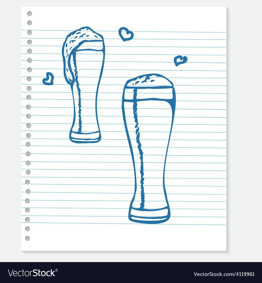 Sketch of a beer vector