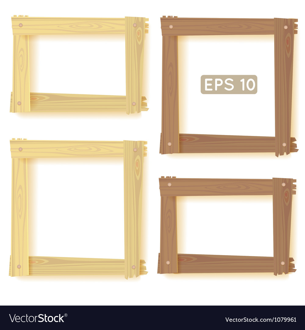 Wooden frames set picture vector