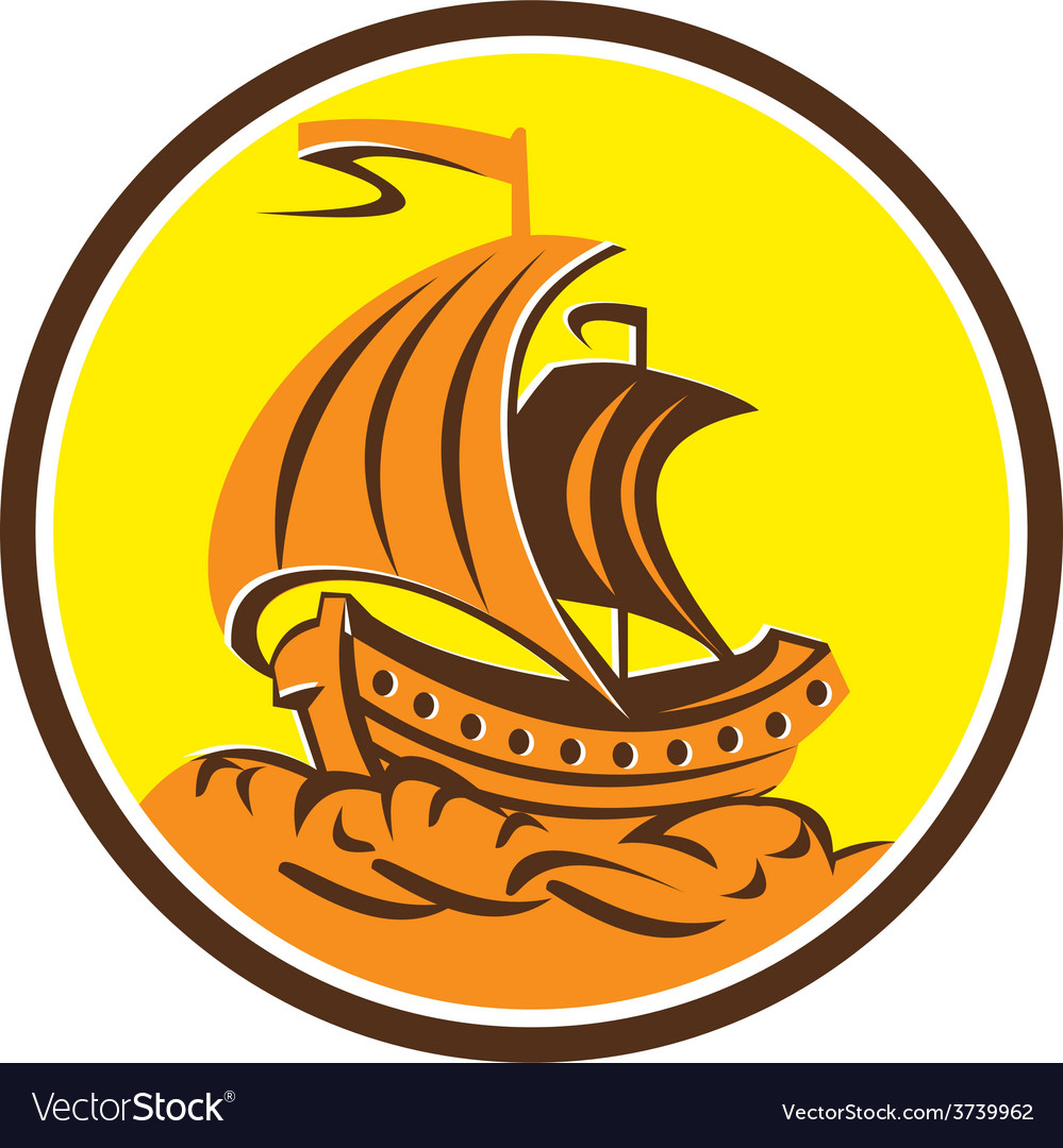 Sailing galleon ship circle retro vector