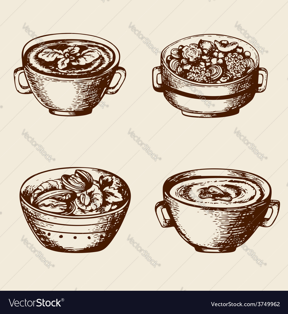Vintage hand drawn soup vector