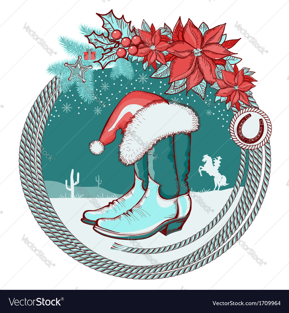 American cowboy boots and santa red hat on vector