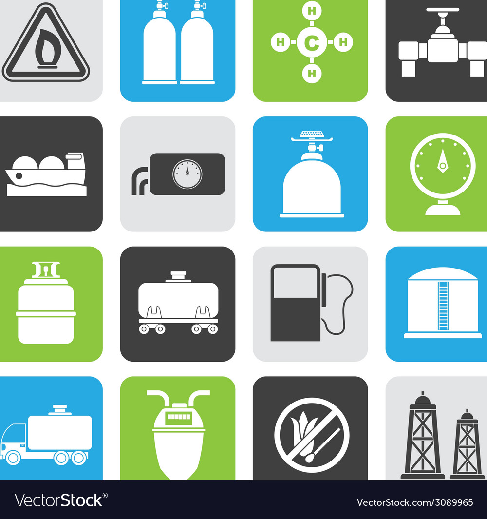 Silhouette natural gas objects and icons vector