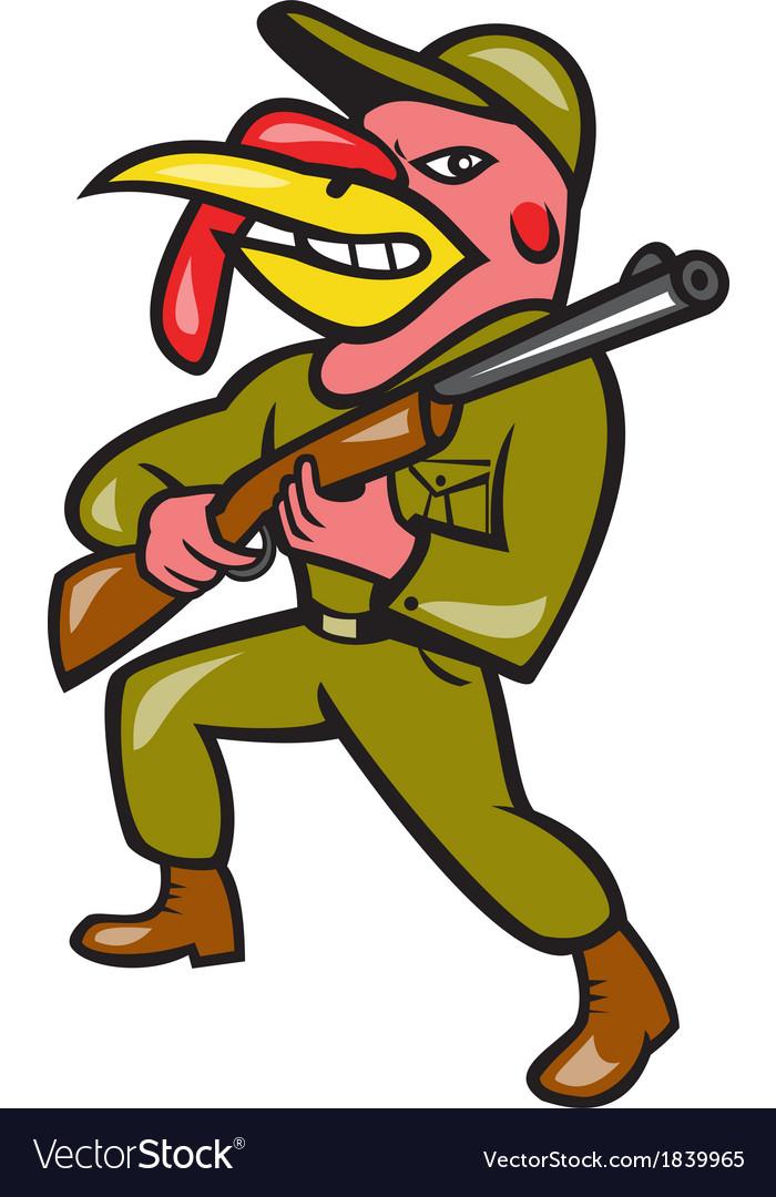 Turkey hunter carry rifle shotgun cartoon vector