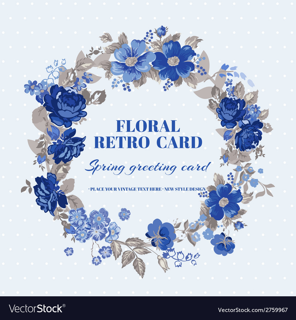 Floral shabby chic card - vintage design vector