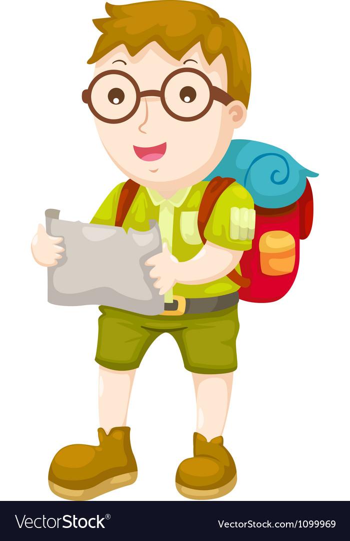 Kid hiking vector