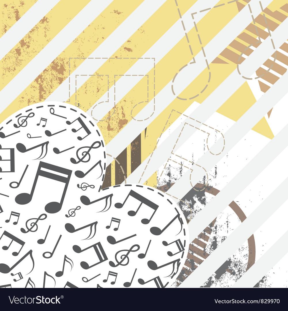 Music heart on grunge background vector
