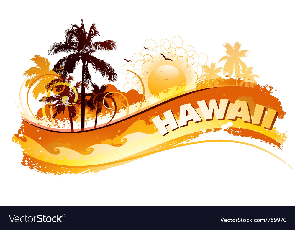 Tropical hawaii background vector