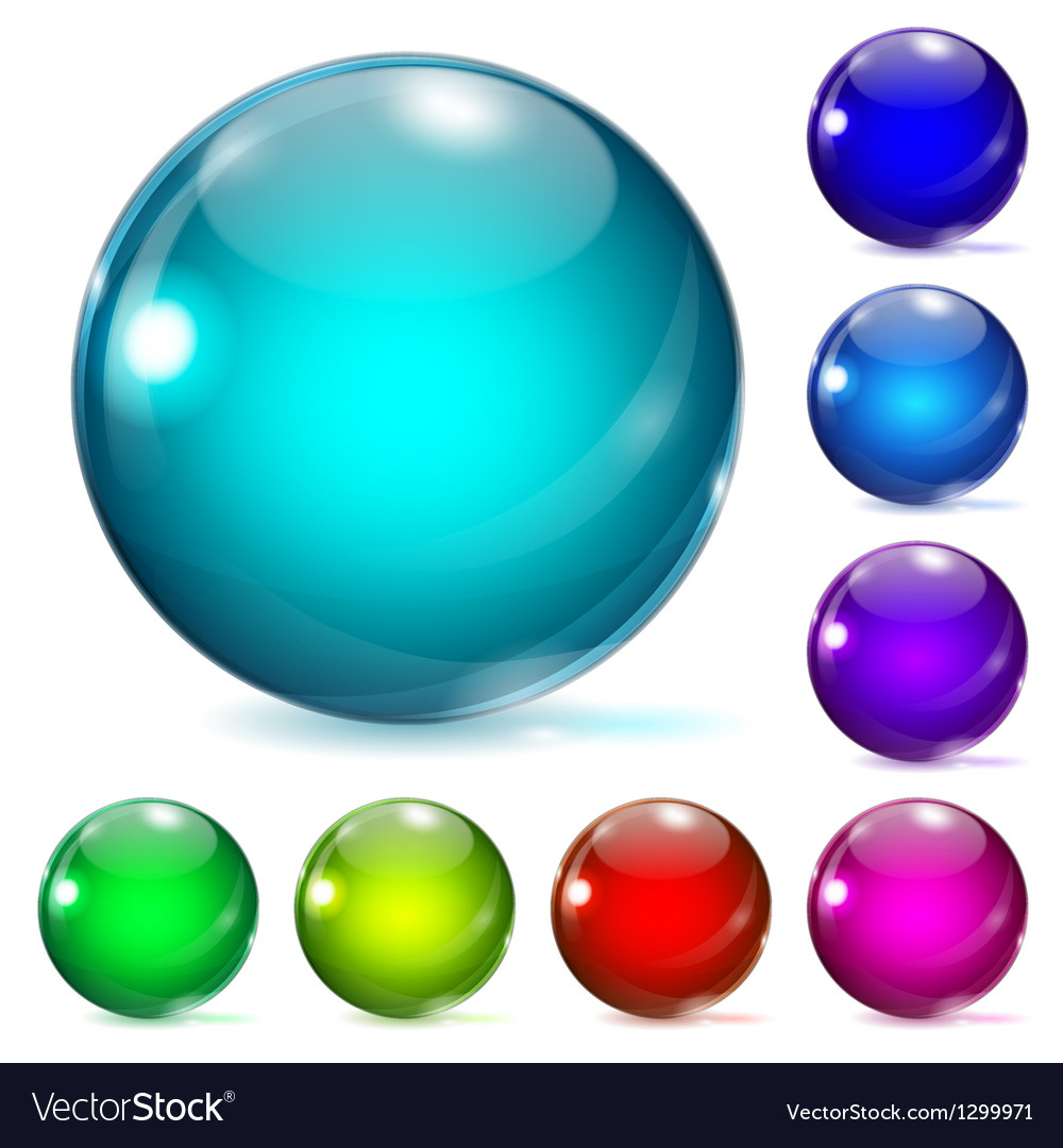 Multicolored glass spheres vector