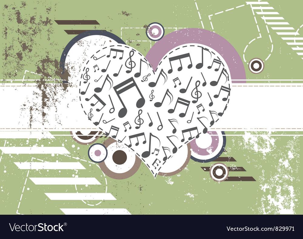 Music heart on retro background vector