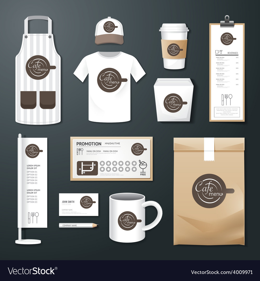 Restaurant cafe set flyer menu package uniform vector