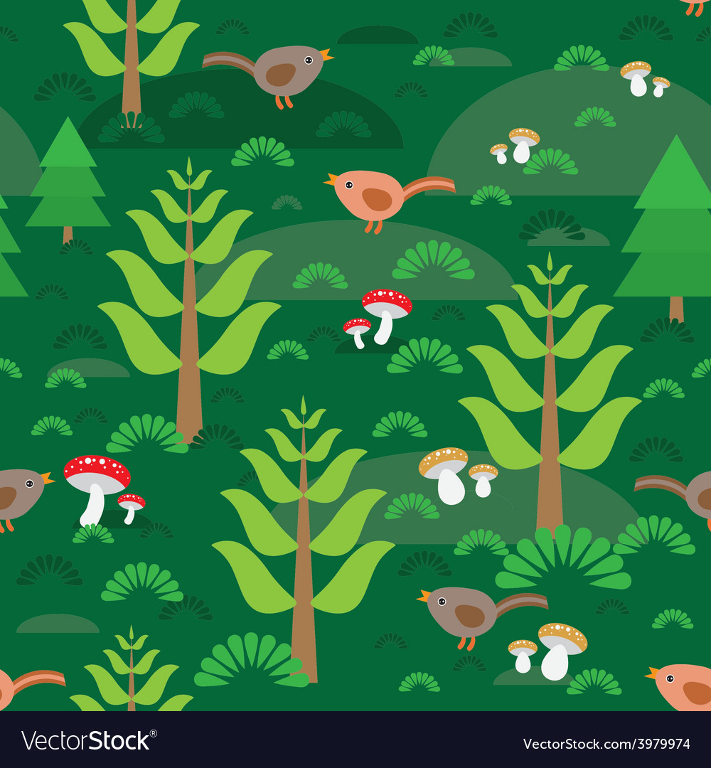 Seamless green background with fir trees mushrooms vector