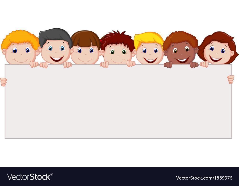 Kids cartoon with blank sign vector