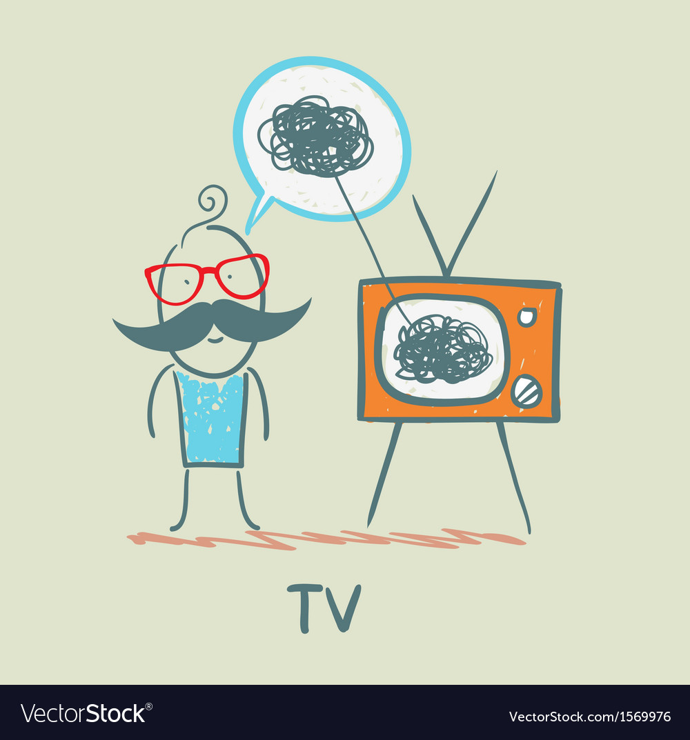 Person feels the same way as tv vector