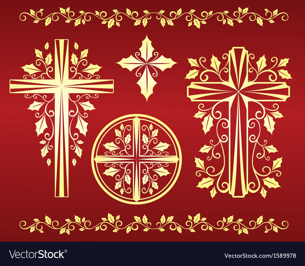 Set of ornamental crosses with holly leaves vector