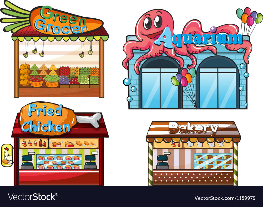 A fruitstand an aquarium a food stall and a bakery vector