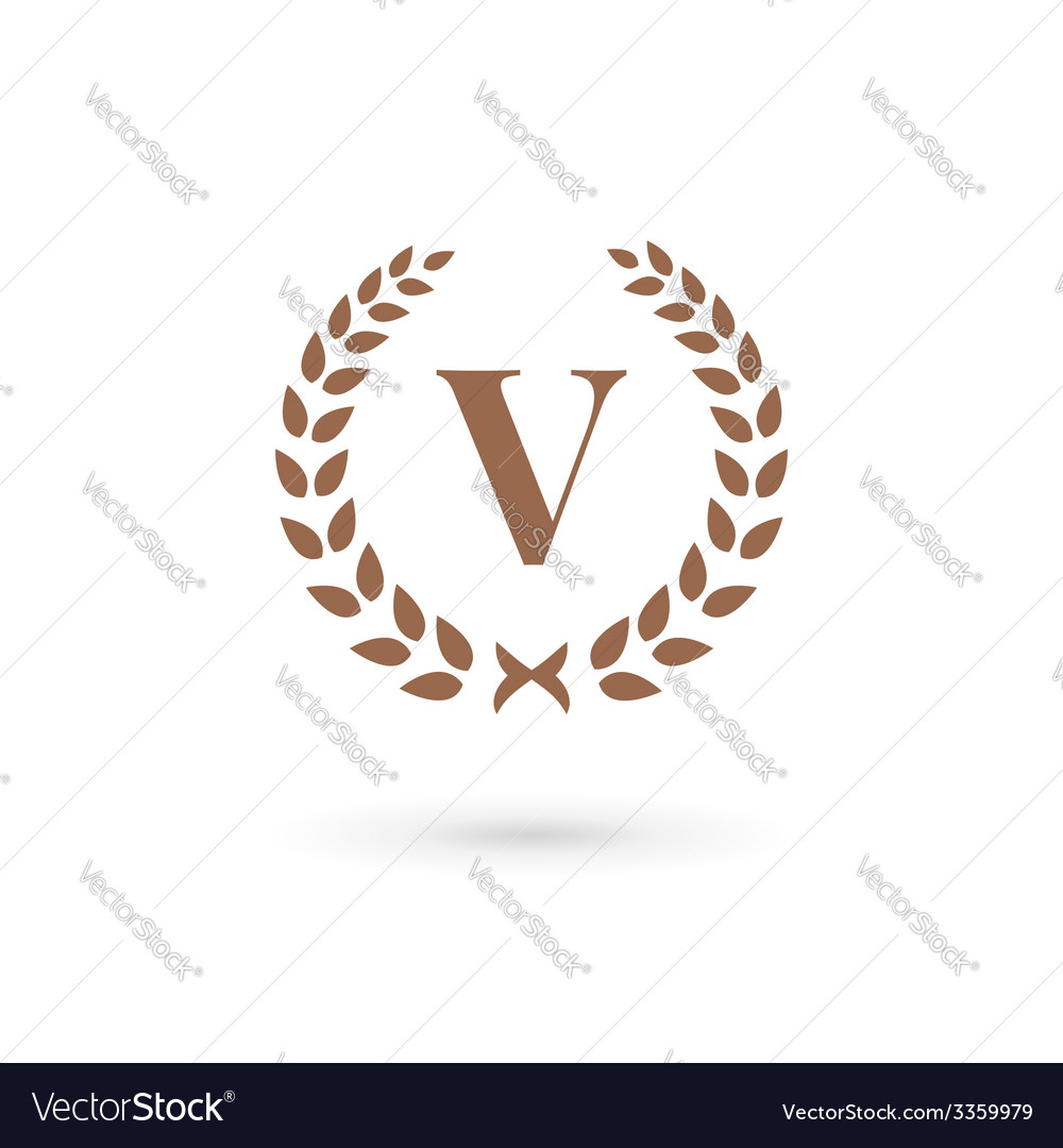 Letter v laurel wreath logo icon design template vector