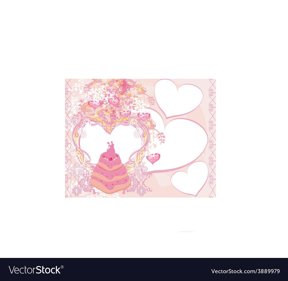 Wedding cake card design vector
