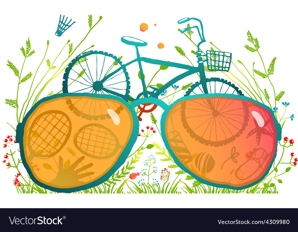 Summer bicycle sunglasses recreation in nature vector